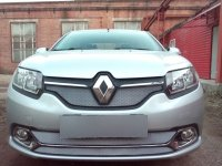 Защита радиатора для Renault Logan 2014- (Privilege, Luxe Privilege) chrome низ