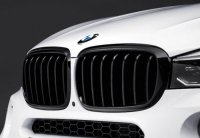 Решетки радиатора BMW X5 F15, X6 F16 M Performance Style, черные, глянец.